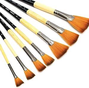 Eval 7Pcs/Set Professional Artist Fan Paint Brushes Painting Brush Art Supplies Soft Anti-Shedding Nylon Hair Wood Long Handle for Acrylic Oil Painting Art Brush Gouache Paint
