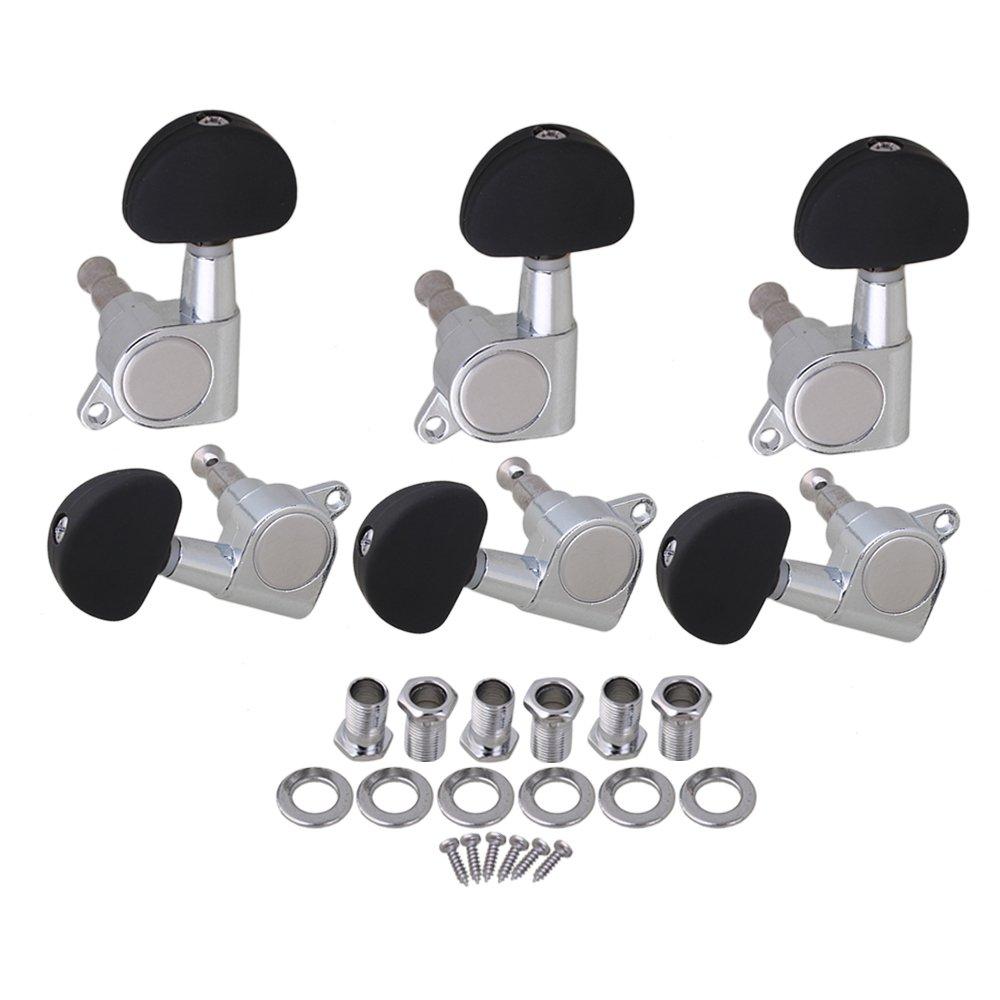 Yibuy Mécaniques pour guitare Mécaniques 3r3l W/Scrub Button chrome etfshop YB0680