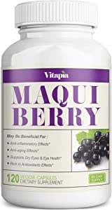 Vitapia Maqui Berry 1000mg - 120 Veggie Capsules - Vegan and Non-GMO - High Quality Superfood - Rich in Antioxidants - Supports Eye Health and Dry Eyes, Anti-Aging