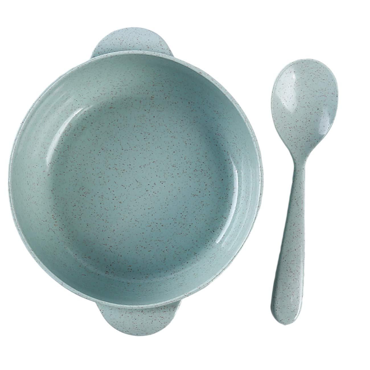 ZALING Baby Dinnerware Set Kids Training Tableware Children Solid Feeding Bowl Dishes with Spoon Pink
