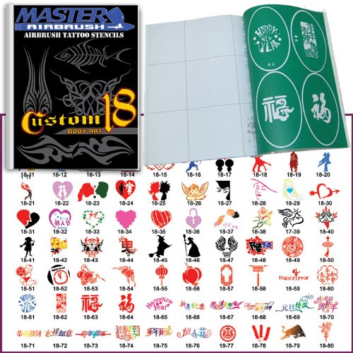 Master Airbrush® Brand Airbrush Tattoo Stencils Set Book #18 Reuseable Tattoo Template Set, Book Contains 100 Unique Stencil Designs, All Patterns Come on High Quality Vinyl Sheets with a Self Adhesive Backing. ()