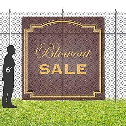 8x8 Classic Brown Wind-Resistant Outdoor Mesh Vinyl Banner Blowout Sale CGSignLab