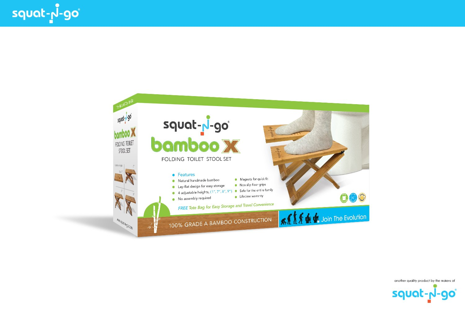 Squat N Go Bamboo X Toilet Stool | Fully Adjustable, Ultra Portable & Eco Friendly | Bonus Travel Bag Included by Squat N Go (Image #7)