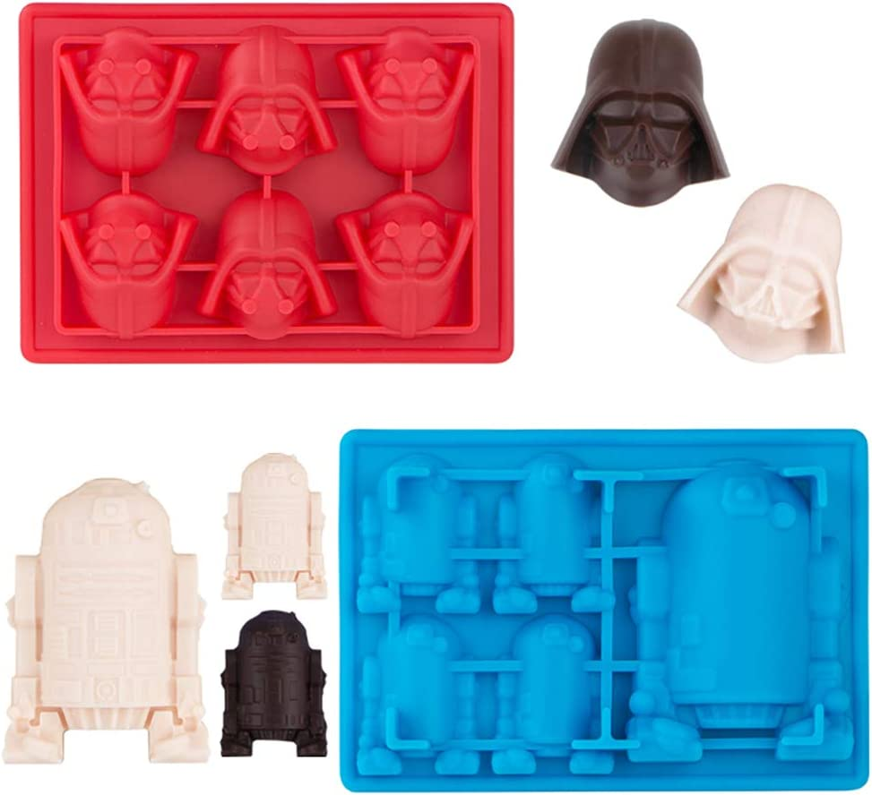 Kamehame Silicone Chocolate Candy Molds For Star Wars Fans, Darth Vader and R2-D2 Mold For Jello,Cake Decoration, Caryon, Pudding, Wax, Ice Cube, Pack of 2