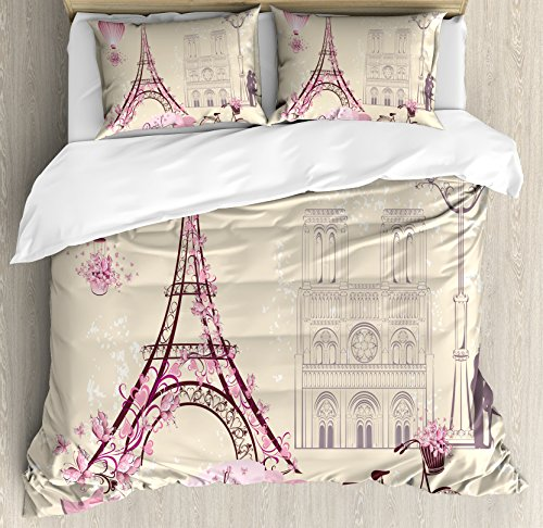 Ambesonne Kiss Duvet Cover Set, Floral Pariss Landmarks Eiffel Tower Hot Air Balloon Bicycle Romantic Couple, Decorative 3 Piece Bedding Set with 2 Pillow Shams, King Size, Ivory Pink (Paris Duvet Covers)