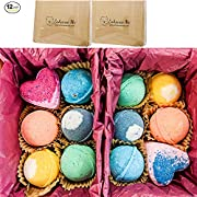 Vegan Bath Bombs, Double Gift Set, 12 Total, Organic Coconut Oil & Aromatherapy Essential Oils, Handmade in USA, Cruelty Free, PABA Free, Wholesale, from Enhance Me