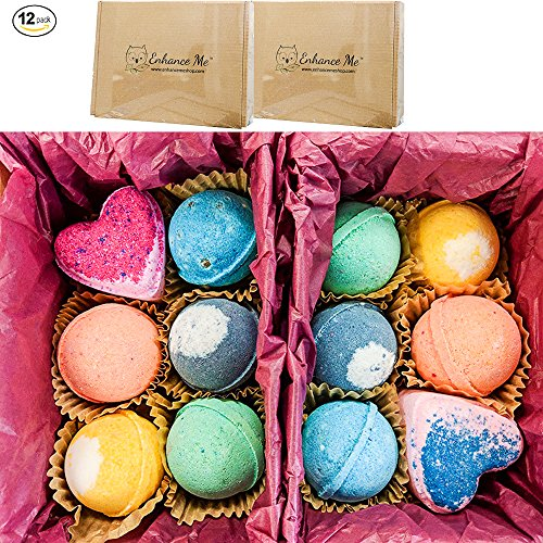 Vegan Bath Bombs, Double Gift Set, 12 Total, Organic Coconut Oil & Aromatherapy Essential Oils, Handmade in USA, Cruelty Free, PABA Free, Wholesale, from Enhance Me (Wholesale Bath Bombs)