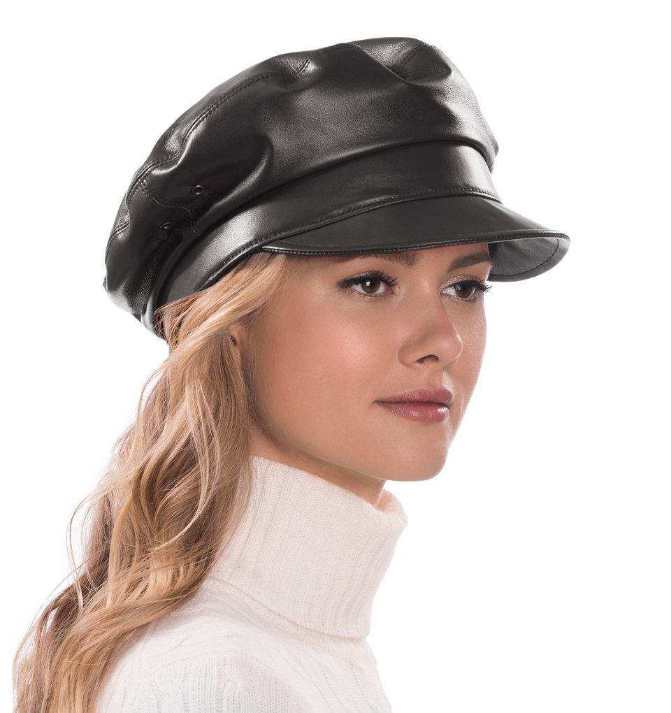 Eric Javits Luxury Fashion Designer Women's Headwear Hat - Night Porter Leather (Black)
