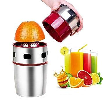 Favson Exprimidor de cítricos, exprimidor manual portátil de acero inoxidable mano naranja exprimidor de tapa de rotación para naranjas, limones, perrinas, ...