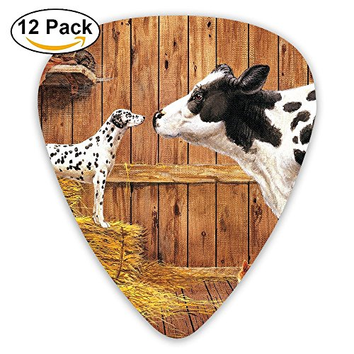 Classic Guitar Pick (12 Pack) Farm Animals Cow Cat Hay Barn Dog Player's Pack For Electric Guitar,Acoustic Guitar,Mandolin,Guitar -