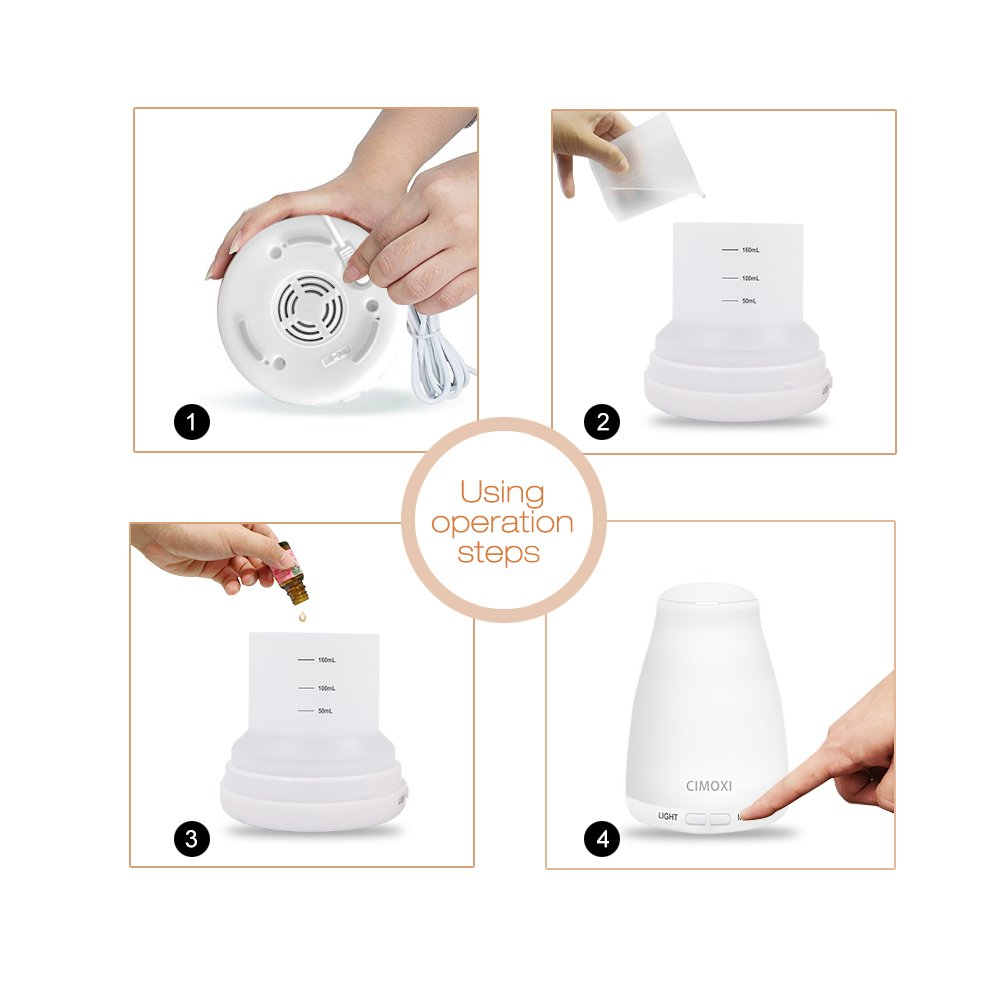 CIMOXI 160ml Mini Essential Oil Diffuser, Ultrasonic Aromatherapy Diffuser Cool Mist Humidifier 7 Color-changing LED Lights Auto Shut-off Adjustable Mist Modes for Home Office Spa Yoga and Baby Room by CIMOXI (Image #4)