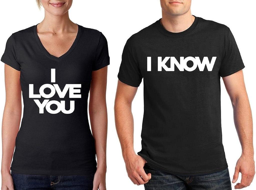 Awkwardstyles Matching Couple Shirts I Love You & I Know V-Neck & T-Shirt B