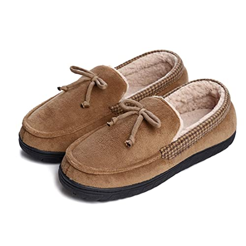 242d49bc5f84 Dailybella Men s Casual Suede Moccasin Slippers Memory Foam Wool House  Shoes Indoor Outdoor (7 D