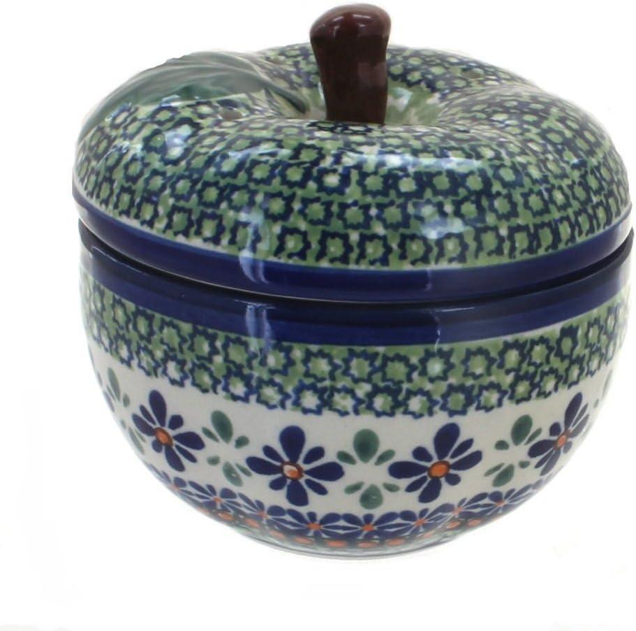 Blue Rose Polish Pottery Mosaic Flower Apple Baker
