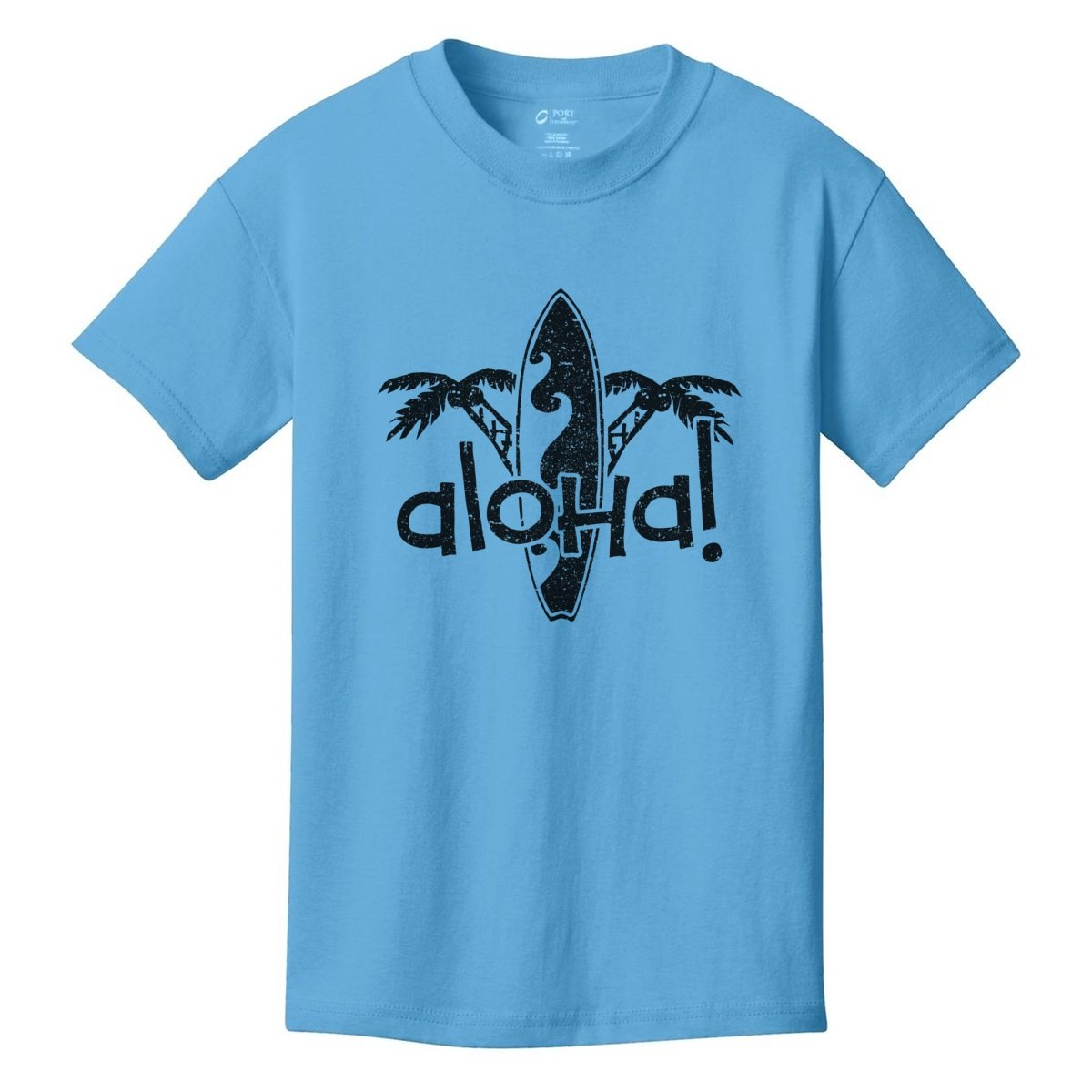 Digital T-Shirt Shop Boys Aloha Palm Trees and Surfboard T-Shirt Large AQUA BLUE