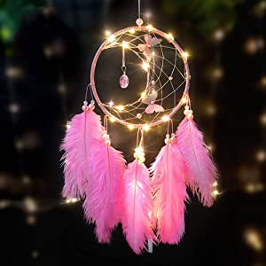 KCD Light Up Dream Catcher with LED Fairy Lights Traditional Crochet Wall Hanging Decorations Craft Gift Indian Dreamcatcher for kids Room Decor-Pink
