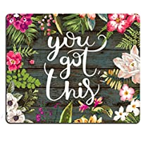 Pingpi Floral Mouse Pad Motiavation Quote You Got This Neoprene Inspirational Quote Mousepad Office Space Decor Home Office Computer Accessories Mousepads Watercolor Vintage Flower Design