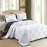 3-Piece Embroidered Sunflower Pattern Cotton Quilt Set Reversible Cotton Bedspread Coverlet Full/Queen Size Bed Cover by mixinni-(Full/Queen,Yellow)