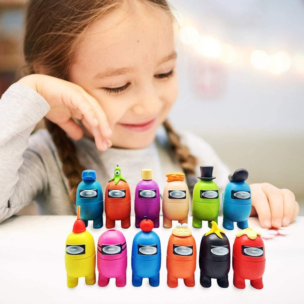Among Us Keychain , Lovely Character Cartoon Key Ring Pendant With Bell Handmade Custom Decorations for Birthday Party,Toy Figures Cartoon Doll Collection Party Gift for Game Fans,Kid,Adult(12Pcs)