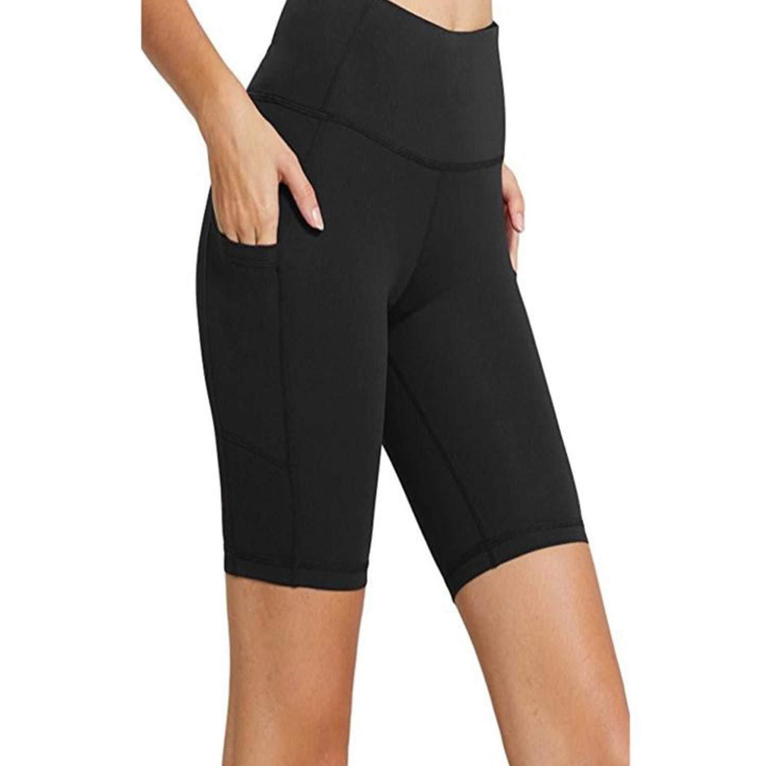 Feitengtd Women Workout Out Pocket Leggings Fitness Sports Gym Running Yoga Athletic Pants (Black, S)
