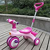 QXMEI Children's Tricycle Trolley Pedal Three-in-one Baby Stroller Awning Baby Carriage 1 to 6 Years Old,Pink2