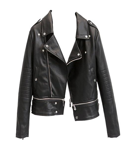 Manteau court en cuir femme