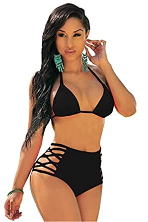 d76d718dae4af Sexybody Women's Halter Padded Hollow Out High Waisted Thong Bikini Solid  Color Swimsuits Swimwear Black