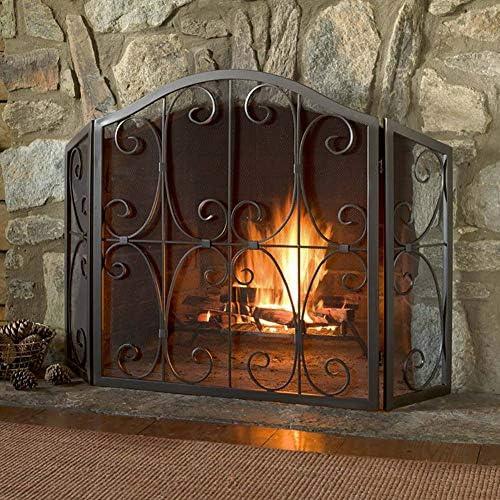 暖炉スクリーン 暖炉のパネルアクセサリー用火災画面ガード大画面3-パネル、金属の装飾メッシュで赤ちゃんの安全証明暖炉ガード、
