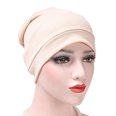 ee77d863dbf Kingko  Women s Muslim Solid Color Stretch Turban Hat Chemo India Cap Hair  Loss Head Wrap Cap