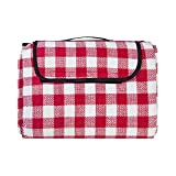 Make it fun Extra Large Picnic & Outdoor Blanket with Waterproof Backing 90' x 80' White&Red