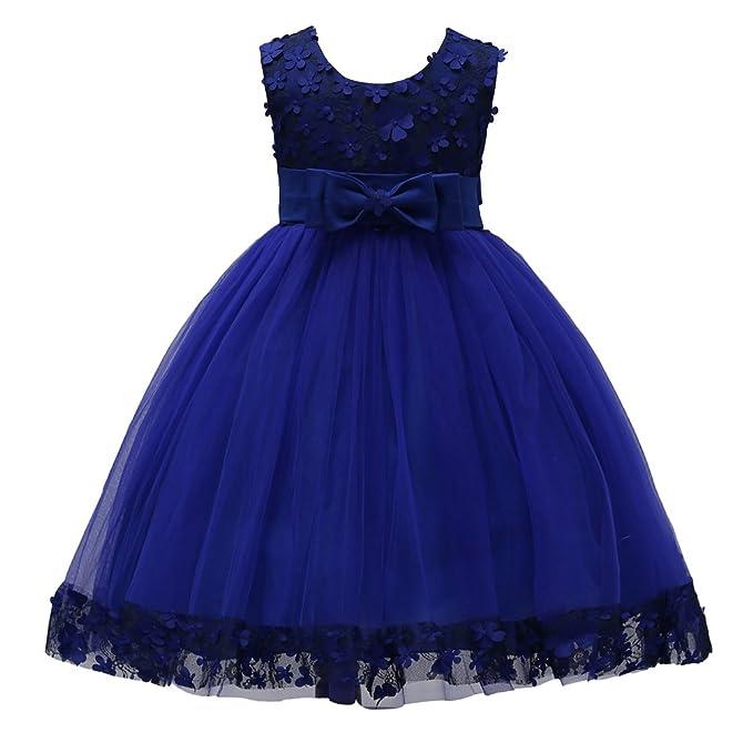 LINNUO Niñas Vestidos Cintura Alta Sin Mangas de Fiesta Princesa Ceremonia Boda con Flores Bownot (