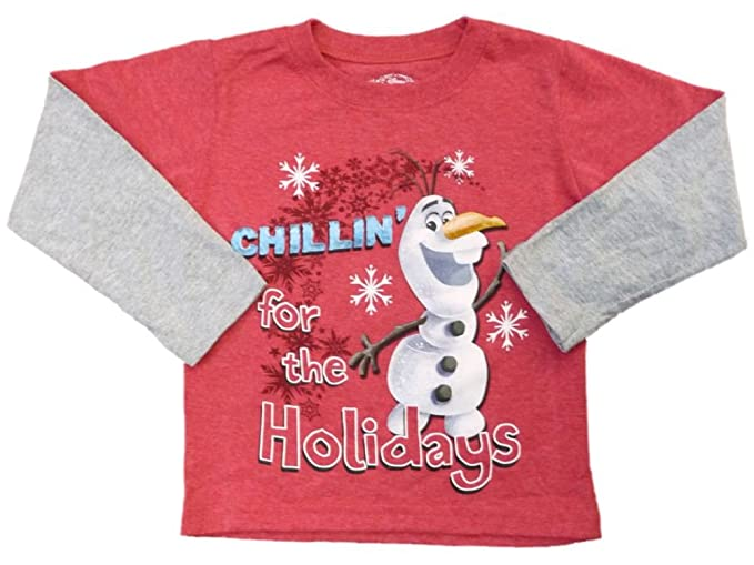 353f673e2771 Disney Frozen Olaf Toddler Boy Red Chillin for the Holidays Christmas T- Shirt 2T