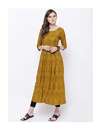 f670d43a3f2 Amazon.com  Hiral Designer Mall Mustard Yellow Floral Print A-Line Kurta  for women Kurtis Indian party ware Tunic Top for Women (L)  Clothing