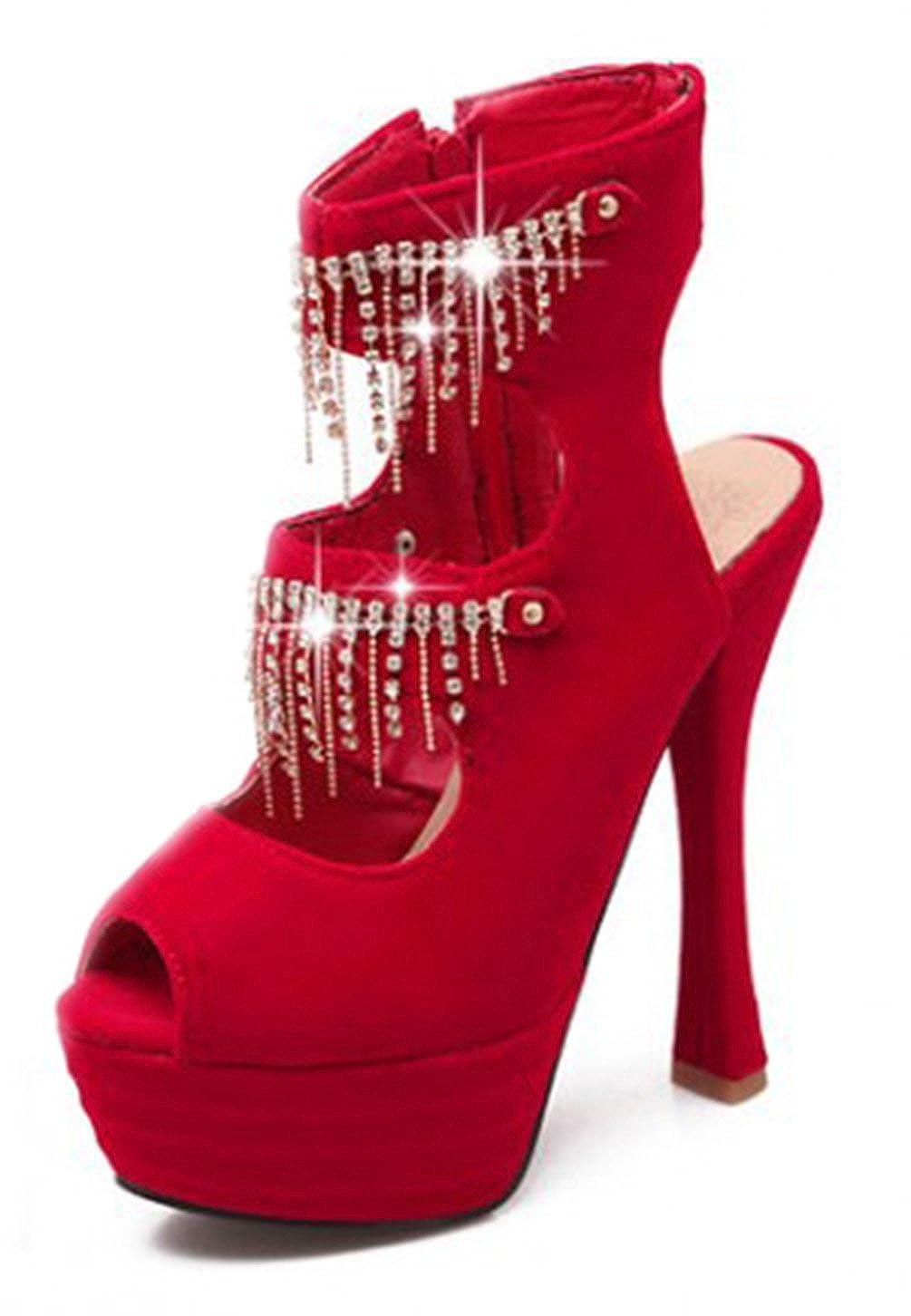Easemax Damen Sexy Peep-Toe High Heels Plateau Cut Out Stiletto Reißverschluss Sandalen Rot 36 EU NHgLEf