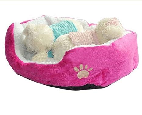 Lubier Cama Perro Cama Gatos Cojín para Mascotas Algodón Hogar de Mascotas (S, Rosa
