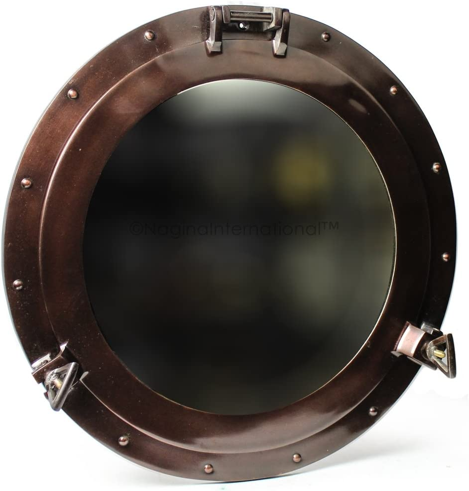 Nagina International Antique Coke Copper Wall Mounted Nautical Premium Aluminum Vintage Mirror | Ship's Porthole Window | Pirate's Maritime Nautical Themed Decor (20 Inches, Light Antique Mirror)