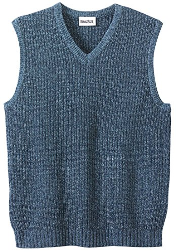 KingSize Men's Big & Tall Shaker Knit V-Neck Sweater Vest, Navy Marl Tall-6Xl by KingSize