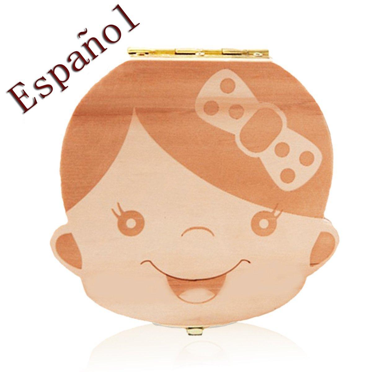 Leisial Caja de Almacenamiento de Dientes de Leche Souvenir Caja Guardar Madera Diente Organizador de la Caja para Niños Niñas Bebé 1pc(Español) product image