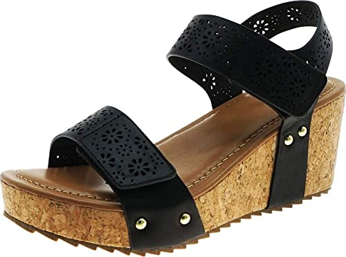 5172deb5718d9 Cambridge Select Women's Laser Cutout Strappy Studded Chunky Cork Platform  Wedge Sandal