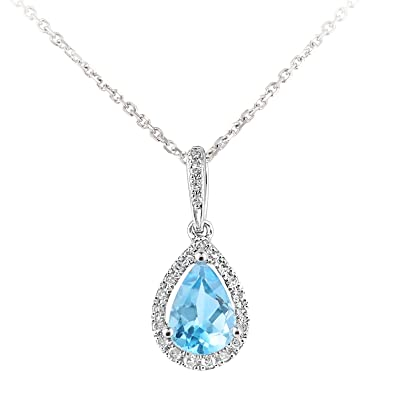 Naava Women's 9 ct White Gold Diamond and Sapphire Gemstone Teardrop Necklace of Length 40 cm