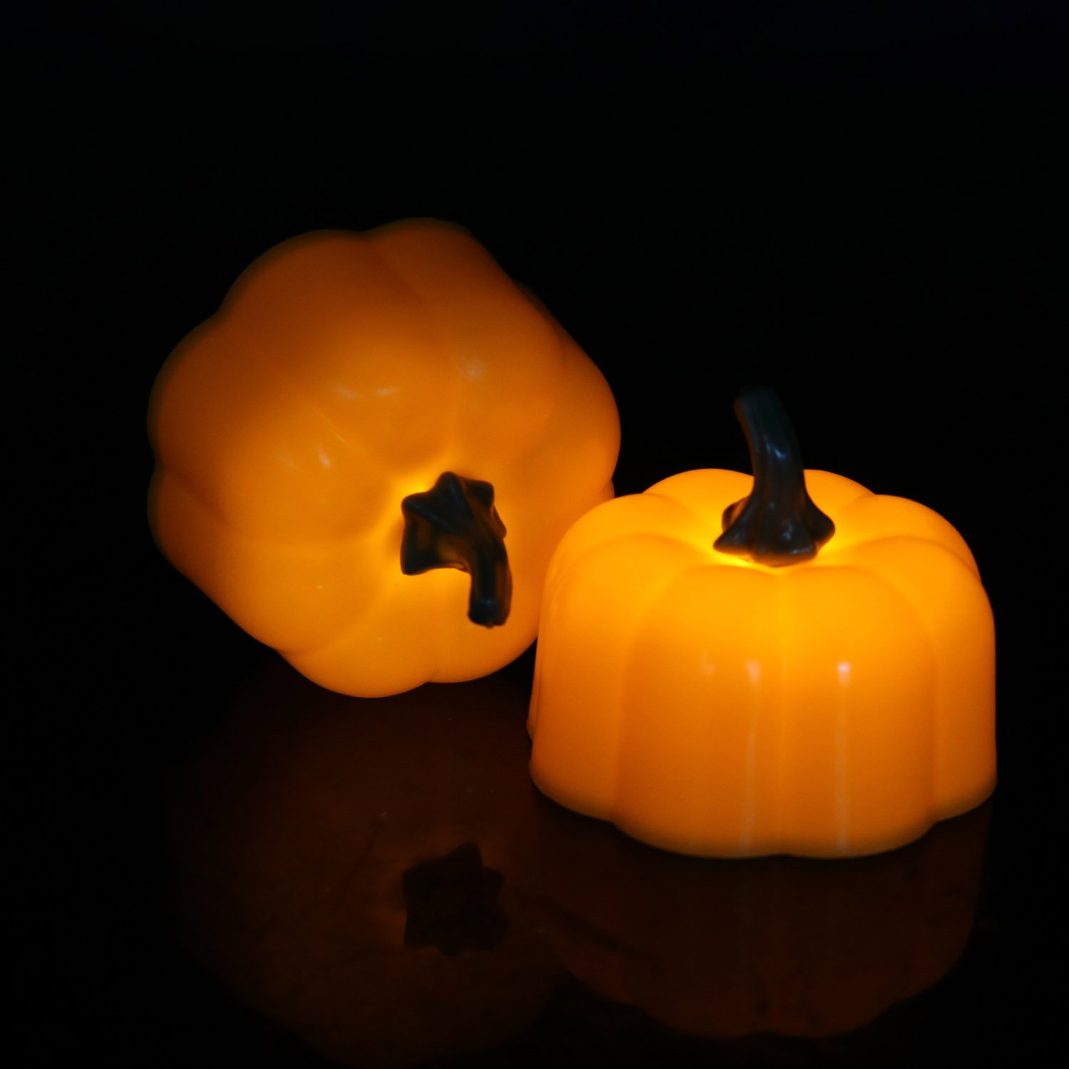 12 Packs, Battery Powered Led Pumpkin Tea Light, Flameless Candle for Halloween, Holiday, Wedding Theme Party, Celebration,Festival,Home Decorations,Warm Yellow Flickering
