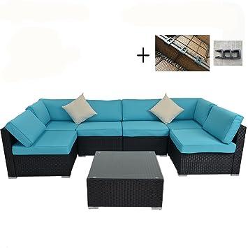 Al aire libre - Juego de Patio sofá muebles de jardín ratán mimbre ...