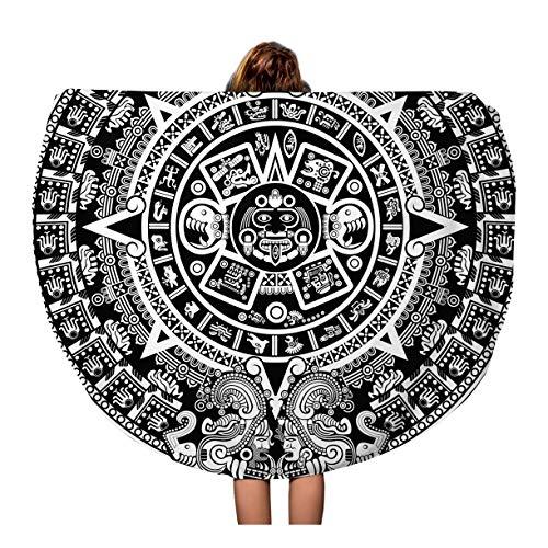 Semtomn 60 Inches Round Beach Towel Blanket Maya Aztec Calendar Inca Mexican Mexico Culture Clip Cartoon Travel Circle Circular Towels Mat Tapestry Beach Throw ()