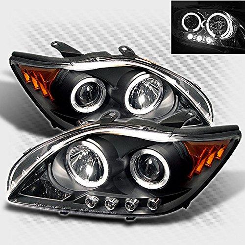 Xtune 2005-2007 Scion TC Twin Halo LED Projector Headlights Black Head Lights Set Lamp Pair Left+Right ()