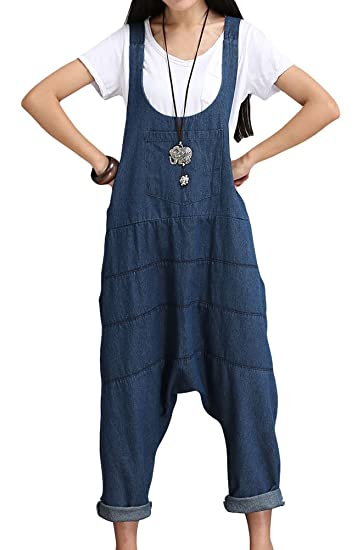 ba726ccab7 Vogstyle Women s Suspenders Romper Harem Jumpsuit Pants Style 1-Blue Medium