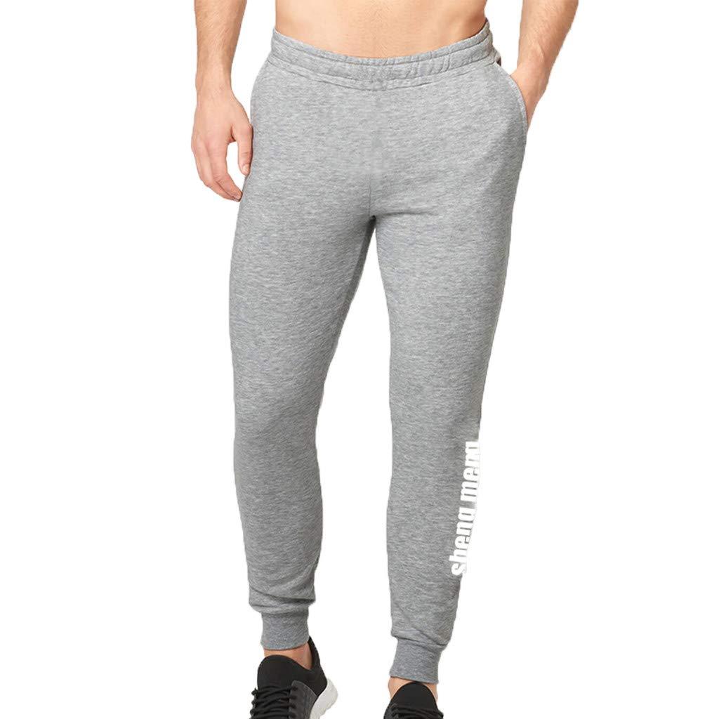 WUAI Mens Casual Pants Outdoors Running Jogger Drawstring Athletic Skinny Pants Sweatpants for Men(Grey,US Size XS = Tag S)
