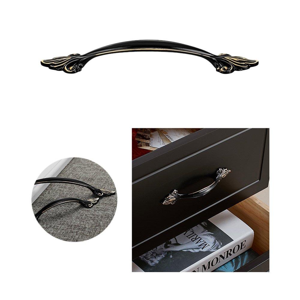 Zhi Jin 4/pcs moderne Cabinet Poign/ées Armoire Poign/ée de tiroir meubles D/écoration Noir 96/mm LS82