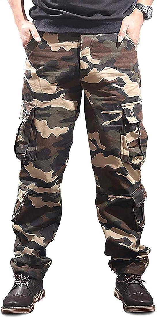 iCKER Pantalones cargo de ajuste relajado para hombre con varios bolsillos militares, camuflaje Amarillo Camuflaje amarillo 38W x 33L: Amazon.es: Ropa y accesorios