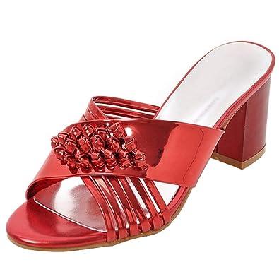 Coolulu Damen Outdoor Slipper mit Blockabsatz Mules mit Slip on Slingback Schuhe  7cm Absatz(Rot 948d41c524