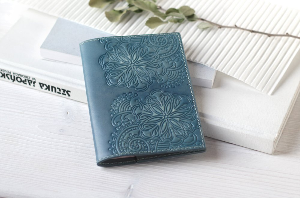 Leather Passport Cover Holder Case For Women - Teal Blue Personalized Passport Cover